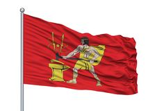 Bolshoy Kamen City Flag On Flagpole, Russia, Primorsky Kray, isolato su fondo bianco royalty illustrazione gratis