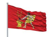 Bolshoy Kamen City Flag On Flagpole, Ryssland, Primorsky Kray som isoleras på vit bakgrund royaltyfri illustrationer