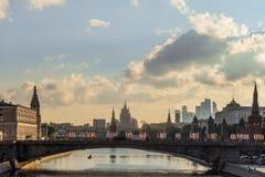 Bolshoy Moscow bridge on Moscow river near Kremlin. Russia royalty free stock images