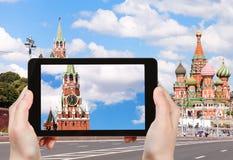 从Bolshoy Moskvoretsky桥梁的克里姆林宫 免版税库存图片