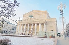 Bolshoy Theater in Moscow city center in winter. Royalty Free Stock Photography