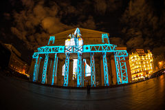The Bolshoy Theatre. Iinternational festival The Circle of Light. The Bolshoy Theatre, Moscow, Russia - October 13, 2014: the international festival Circle of royalty free stock images