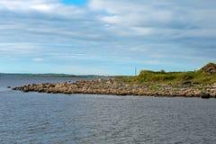 On Bolshoy Zayatsky Island. Poklonny cross by the sea on Bolshoy Zayatsky Island. Solovetsky archipelago, White sea, Russia stock images