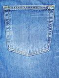 Bolsillo azul de la mezclilla de Denium Fotografía de archivo libre de regalías