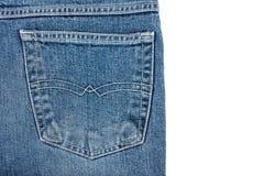 Bolsillo azul de la parte posterior de la mezclilla en el fondo blanco foto de archivo