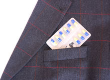 Bolsillo con las píldoras Fotografía de archivo