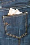 Bolsillo de los pantalones vaqueros Imágenes de archivo libres de regalías