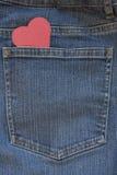 Bolsillo de los tejanos con el corazón Fotografía de archivo libre de regalías