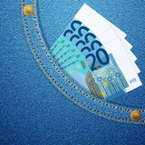 Bolsillo del dril de algodón y 20 billetes de banco euro Fotos de archivo libres de regalías