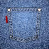 Bolsillo del dril de algodón con la etiqueta. Imágenes de archivo libres de regalías