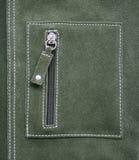 Bolsillo en textura de cuero verde como fondo Fotos de archivo libres de regalías