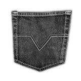 Bolsillo negro de la mezclilla de la tela Fotos de archivo