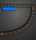 Bolsillo negro de los pantalones vaqueros Imagenes de archivo
