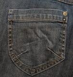 Bolsillo negro de los pantalones vaqueros Foto de archivo