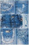 Bolsillos azules claros de los vaqueros de la moda Foto de archivo libre de regalías