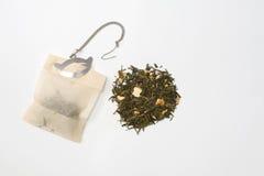 Bolsita de té y té Foto de archivo