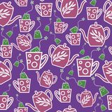 Bolsitas de té lindas que saltan en modelo inconsútil de las tazas ilustración del vector