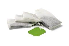Bolsitas de té verdes Imágenes de archivo libres de regalías