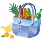 Bolso azul con el alimento Fotografía de archivo