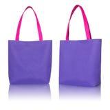 Bolso azul de la tela de las compras Imagen de archivo