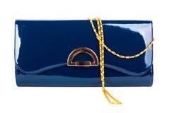 Bolso azul de las señoras elegantes aislado Fotografía de archivo libre de regalías