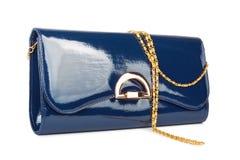 Bolso azul de las señoras elegantes aislado Fotos de archivo
