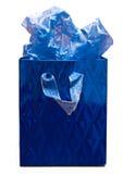 Bolso azul del regalo Imagen de archivo libre de regalías