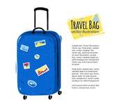 Bolso azul del viaje en el fondo blanco Fotos de archivo libres de regalías