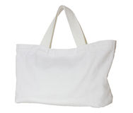 Bolso blanco de la tela aislado en blanco Foto de archivo