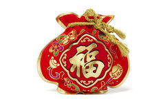 Bolso chino del regalo del Año Nuevo imagenes de archivo