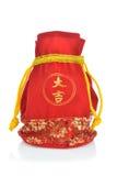 Bolso chino y decoración del regalo del Año Nuevo Fotografía de archivo libre de regalías