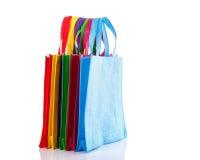 Bolso colorido determinado del algodón Tiro del estudio aislado en blanco Imagenes de archivo