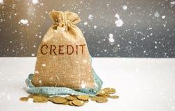 Bolso con cinta métrica del dinero y y el crédito de la palabra Préstamos de la Navidad Tarifas de bajo interés Ofertas favorable imágenes de archivo libres de regalías