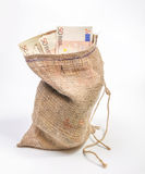 Bolso con euros Fotografía de archivo libre de regalías