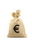 Bolso con la muestra euro Imagen de archivo libre de regalías