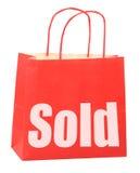 Bolso con la muestra vendida blanca Foto de archivo libre de regalías