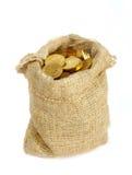 Bolso con las monedas de oro imagenes de archivo