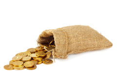 Bolso con las monedas de oro Foto de archivo
