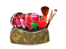Bolso con los cosméticos Fotografía de archivo