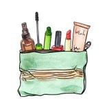 Bolso cosmético con los cosméticos decorativos libre illustration