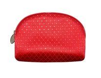 Bolso cosmético rojo, aislado en el fondo blanco fotografía de archivo