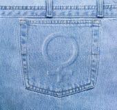 Bolso das calças de brim de Femenine Fotos de Stock Royalty Free