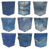 Bolso das calças de brim isolado no branco Grupo de bolso diferente das calças de brim Fotografia de Stock Royalty Free