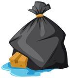 Bolso de basura en piso mojado ilustración del vector