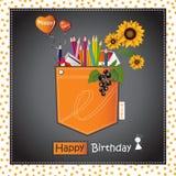 Bolso de cartão do feliz aniversario Fotos de Stock Royalty Free
