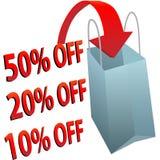 Bolso de compras 10 el 20 50 por ciento de la VENTA Foto de archivo libre de regalías