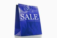 Bolso de compras azul Imagen de archivo libre de regalías