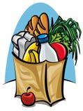 Bolso de compras con el alimento Foto de archivo
