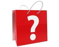 Bolso de compras con el signo de interrogación Fotos de archivo