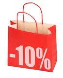 Bolso de compras con la muestra -10% Imagenes de archivo